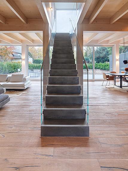 Villa mit Glasfassade Frontansicht Treppe