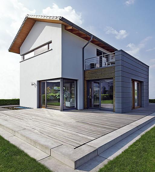 Musterhaus mit Terrasse