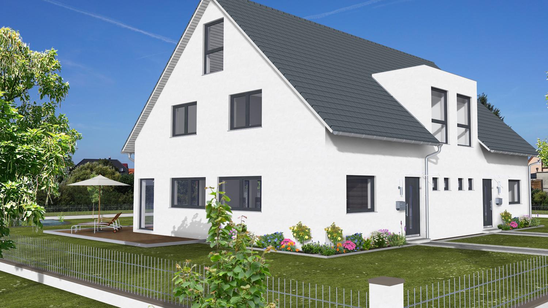 Platzsparendes Doppelhaus: Hauskonzept