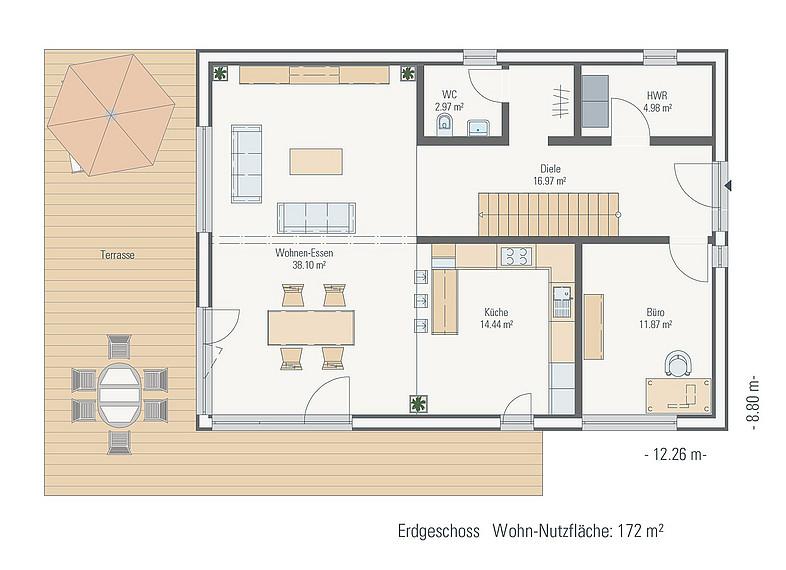 Family-Plus-Haus Einfamilienhaus Grundriss EG
