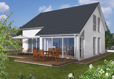 Kleines Fertighaus: Stadthaus mit Wintergarten