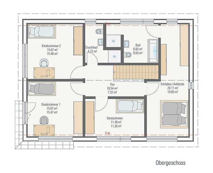 Family-Plus-Haus Einfamilienhaus Grundriss OG
