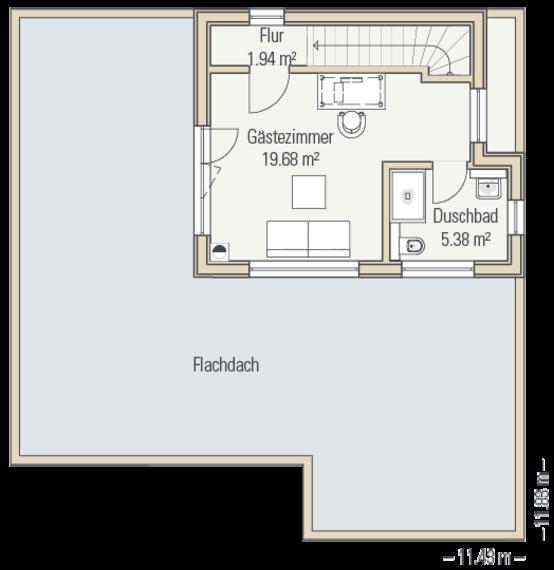 Bungalow Wesel Grundriss Obergeschoss