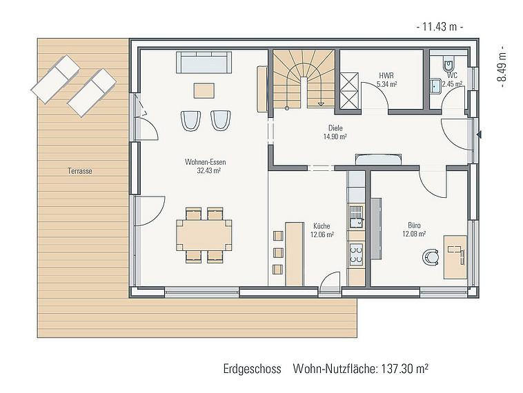 Grundriss EG Stadthaus